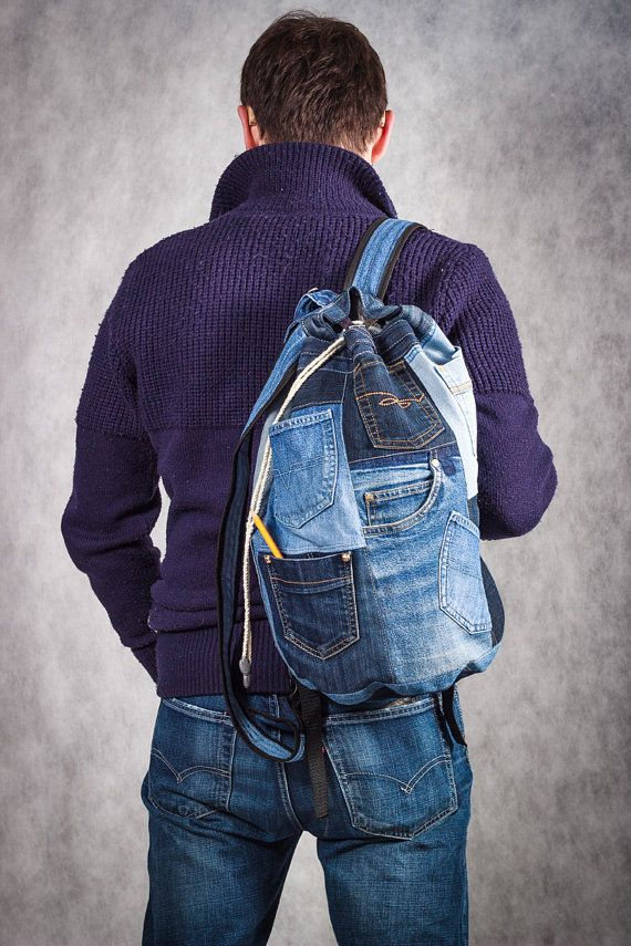 Unique Patchwork Upcycled Eco Jeans Denim Backpack Sailor Bag with Pockets