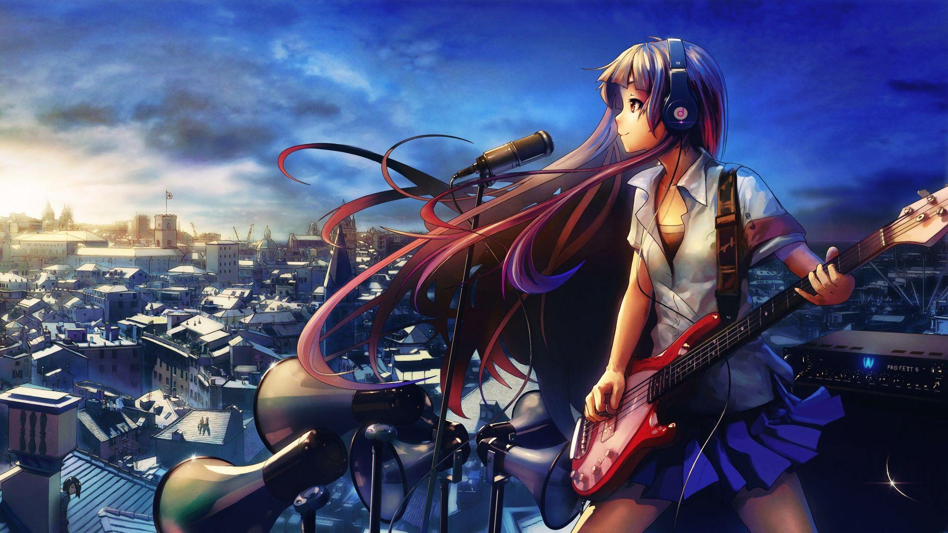 Download Wallpaper 1920x1080 Girl Guitar Microphone Headphones