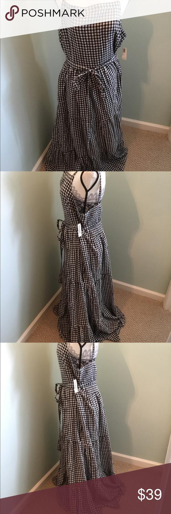 Black and white gingham maxi dress xl tall nwt gingham maxi