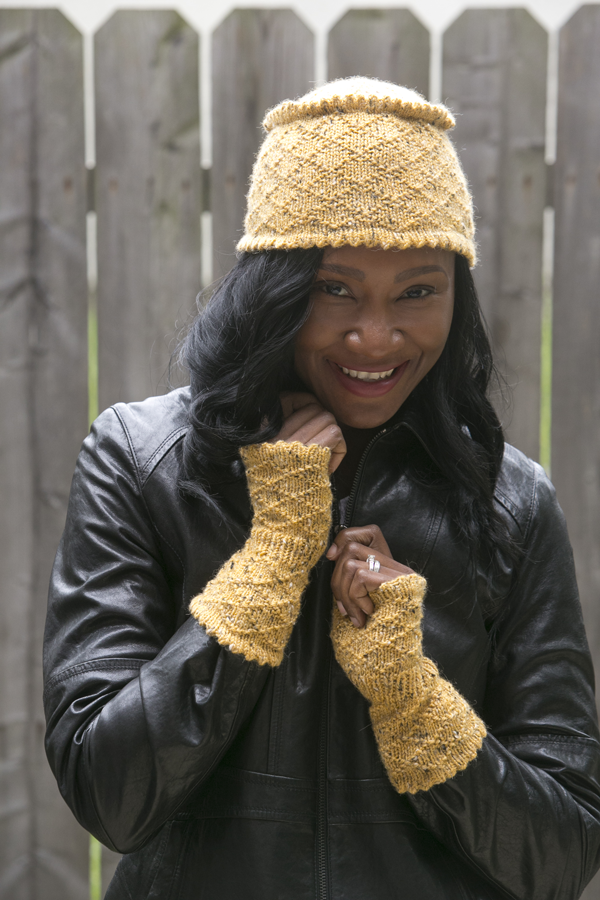 Embossed Diamond Set - Boasting a subtle diamond-shaped pattern, this pillbox hat-and-mitts set will surely add a pop of color to your wardrobe. Make one for yourself and then one for your best friend. From the December 2014 issue of I Like Knitting
