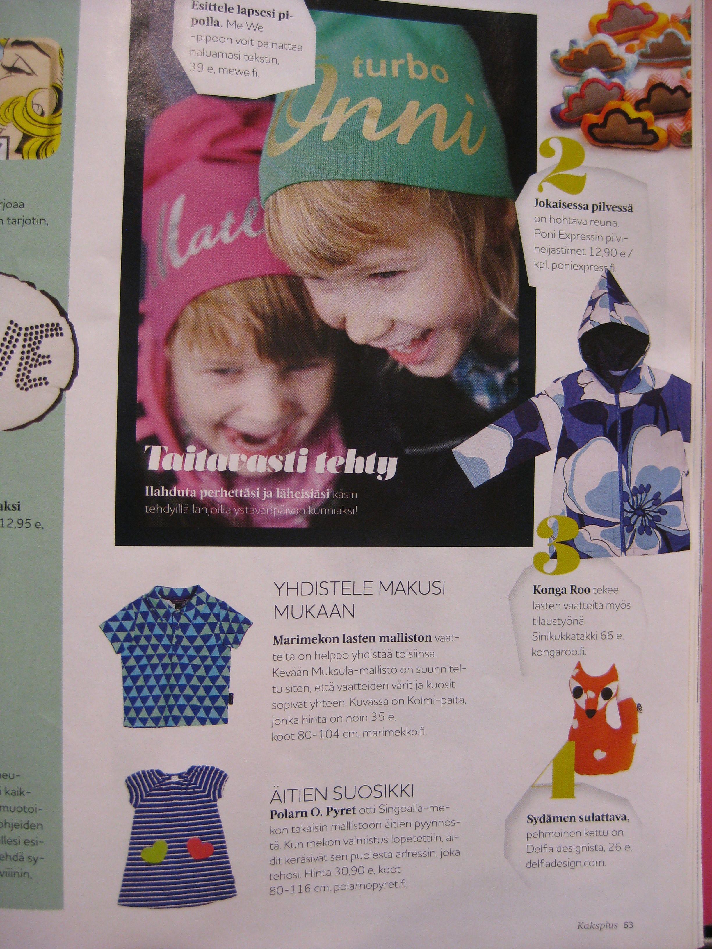 KaksPlus 1-2/2014. Kuvamarkkinoinnin satoa; PoniExpress, Kongaroo ja Delfia Design ja kaupan päälle vielä Me We:n oma markkinointi johti pipotkin samalle sivulle!