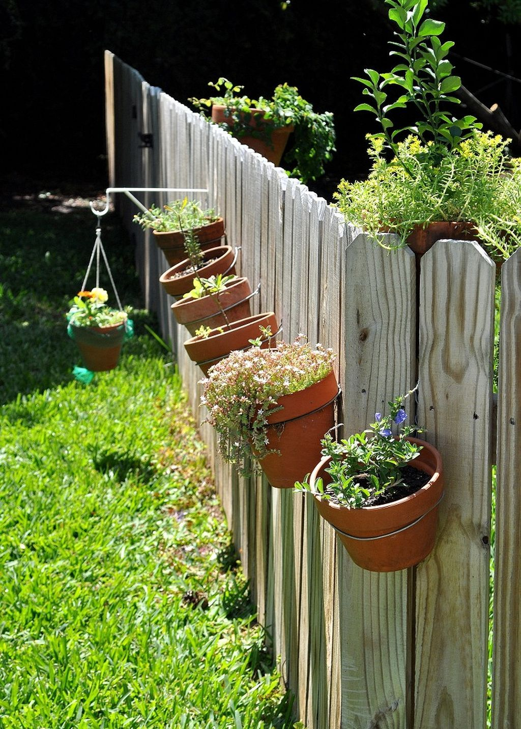 Awesome 27 Hanging Plants On The Fence Ideas Https Gardenmagz Com 27 Hanging Plants On The Fence Ideas Hanging Plants On Fence Fence Planters Hanging Plants