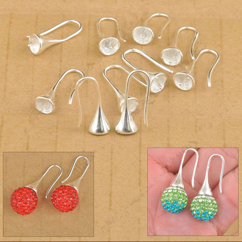 50-100PCS Jewelry Findings Silver Bail Hook Earring Ear Wires For Crystal Beads