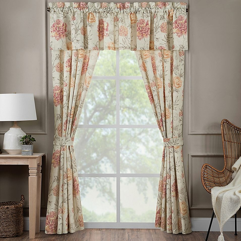 Rose Tree Nadia 2 Pack 84 Inch Rod Pocket Window Curtain In Rose