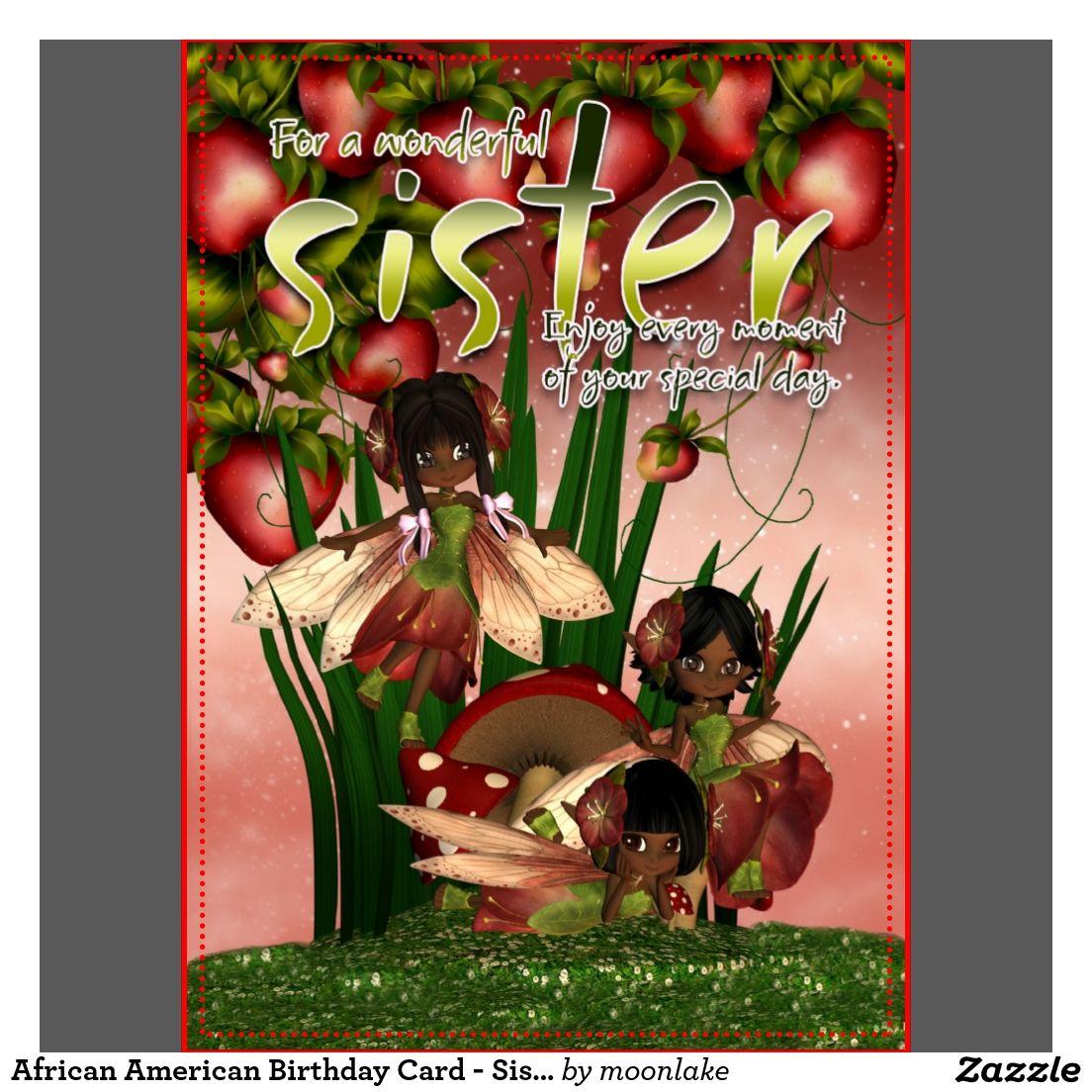 African American Birthday Card Sister Moonies Birthday