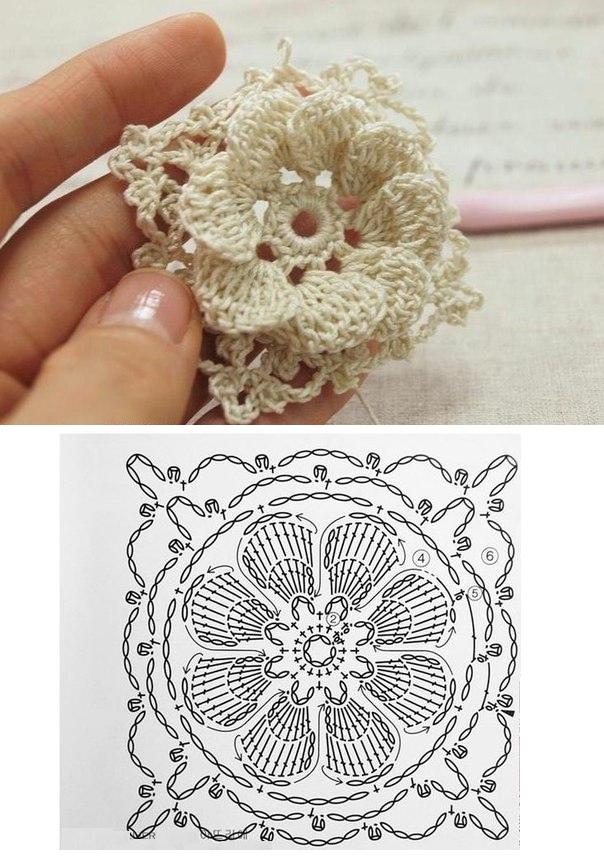 Flor de Crochet con Relieves - Patrones Crochet | tejido | Pinterest ...