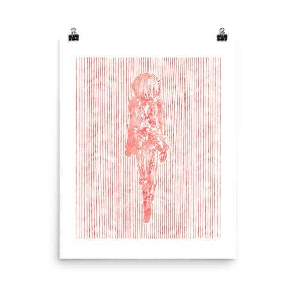 Red Watercolor Figure 2, 16x20 Poster