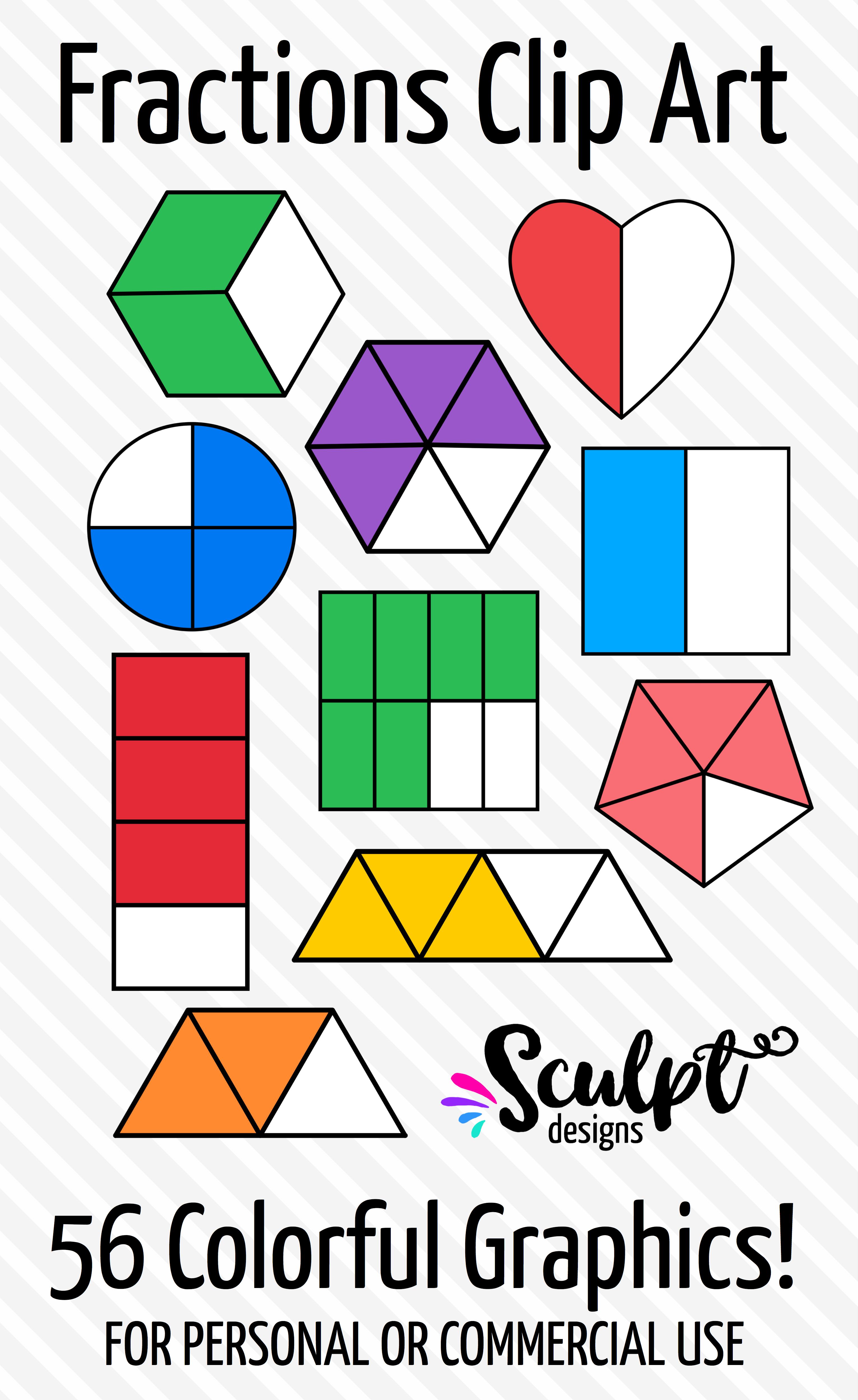 Fractions Clip Art Various Shapes Amp Colors