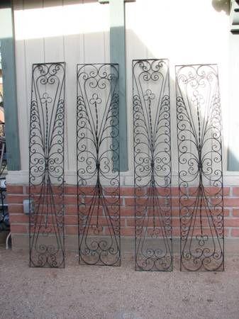 Garden Trellis 4 Vintage Ornamental Heavy Wrought Iron Panels