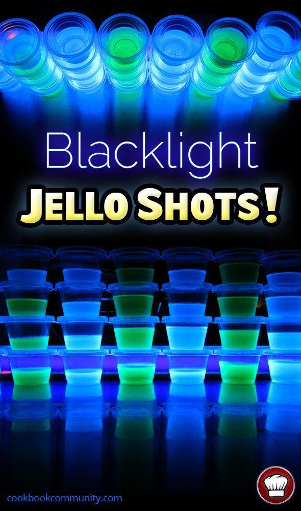 GLOW IN THE DARK BLACKLIGHT JELLO SHOTS Vodka Berry Blue Lime