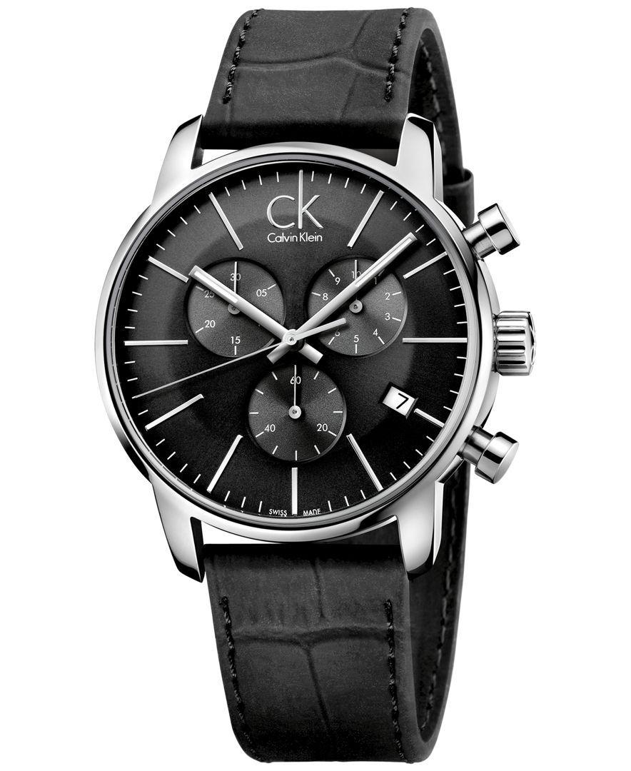 87c1b3199 Calvin Klein Men's Swiss Chronograph City Black Leather Strap Watch 43mm  K2G271C3