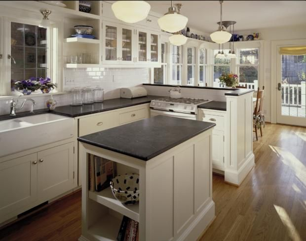white subway tile kitchen, white cabinets, leaded glass, soapstone coutners, go forth gill architects