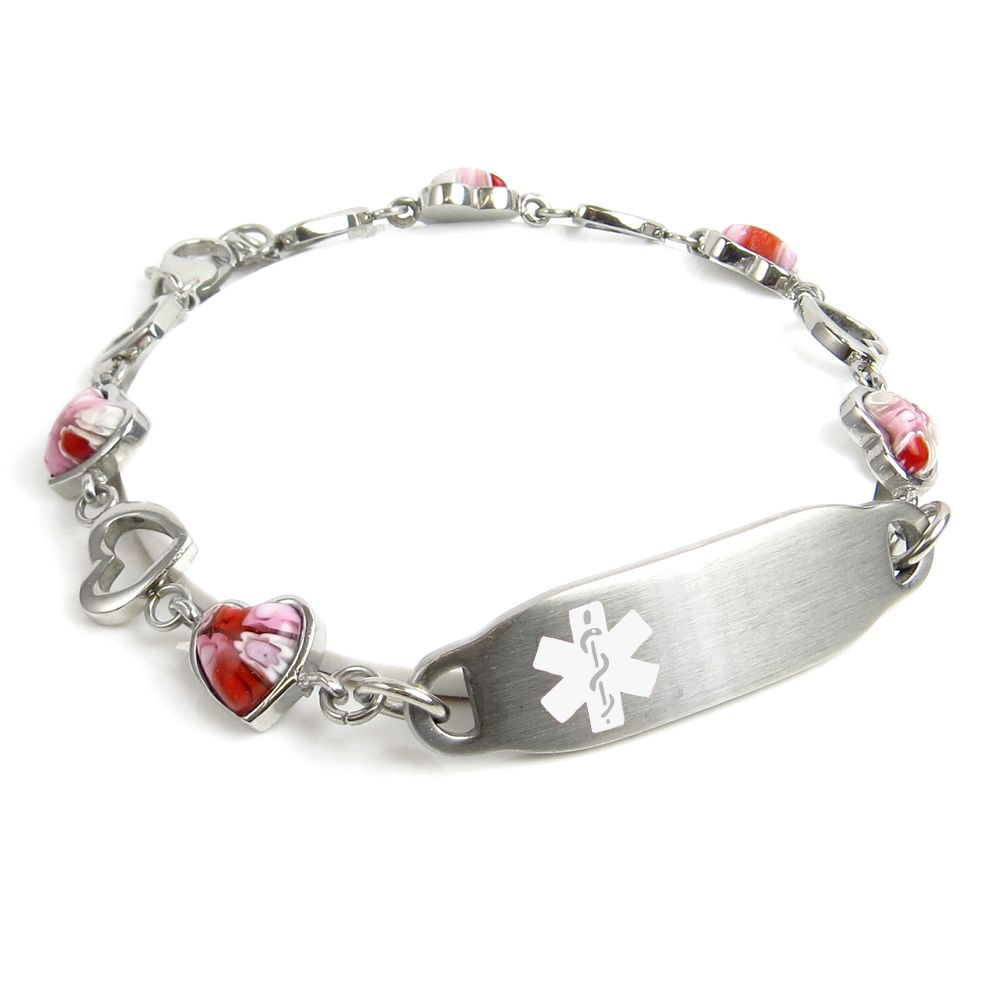 This bracelet is fashioned with beautiful steel hearts and pink