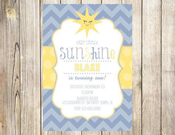 Blue You are my Sunshine Birthday Invitation by EmmyJosParties, $13.00
