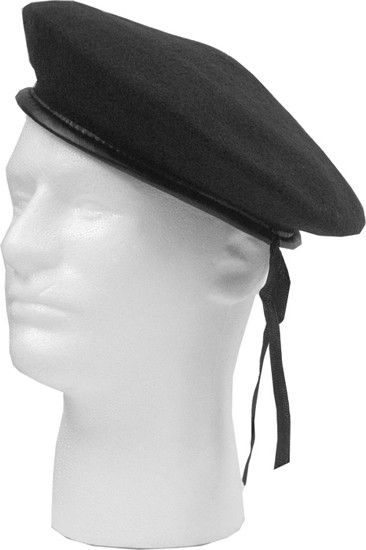 Black Military Wool Monty Beret Hat  bbb76753f42