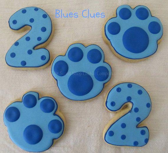 Blue Paw Print Cookies 2 Dozen In 2020 2nd Birthday Party Themes Clue Party Dog Birthday Party