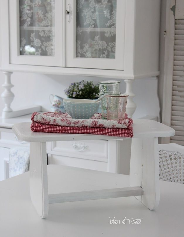 Shabby Chic Fußbank in W E I ß
