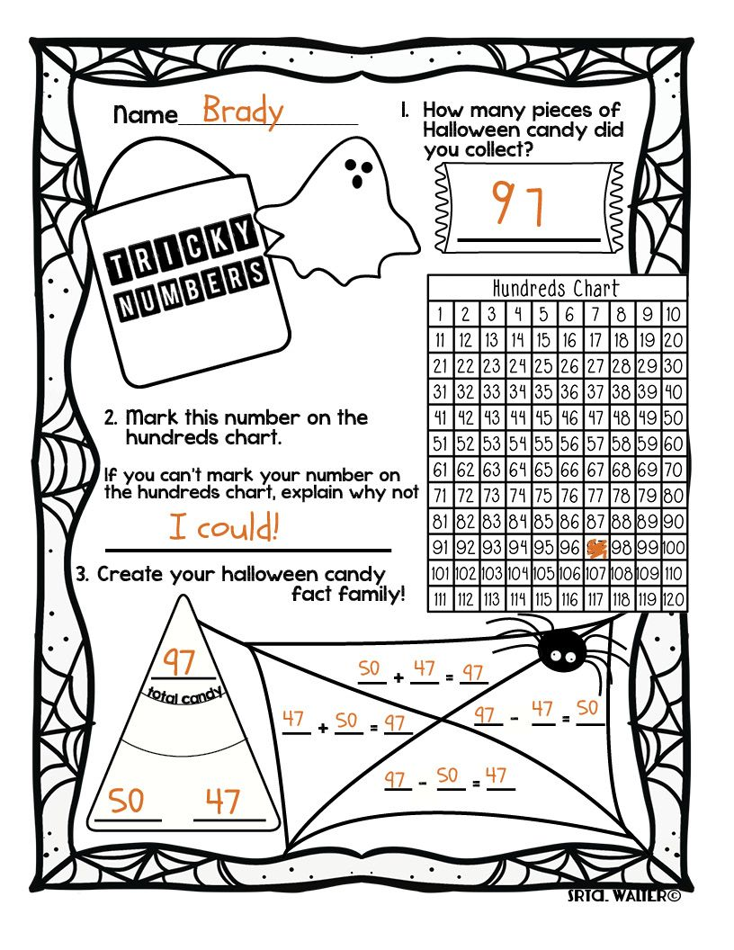 Tricky Numbers Halloween Math Homework Halloween Math Halloween Kindergarten Math Homework [ 1056 x 816 Pixel ]