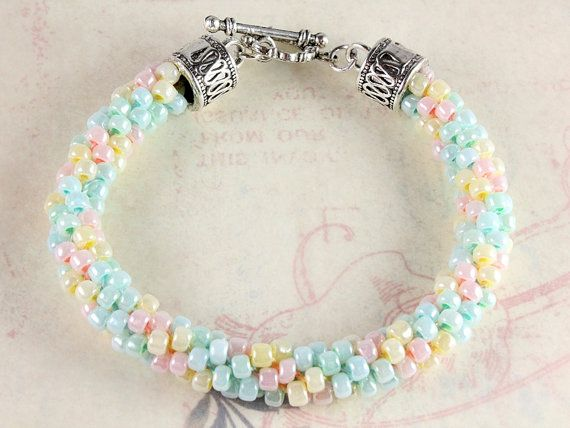 Kumihimo Bracelet Pastels by NancysCrystalFantasi on Etsy, $27.00