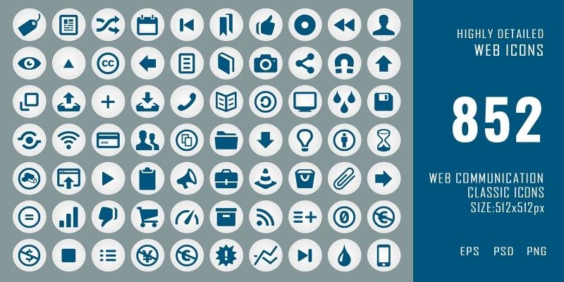 852 Classic Web Communication Icons Pack by Graphicques