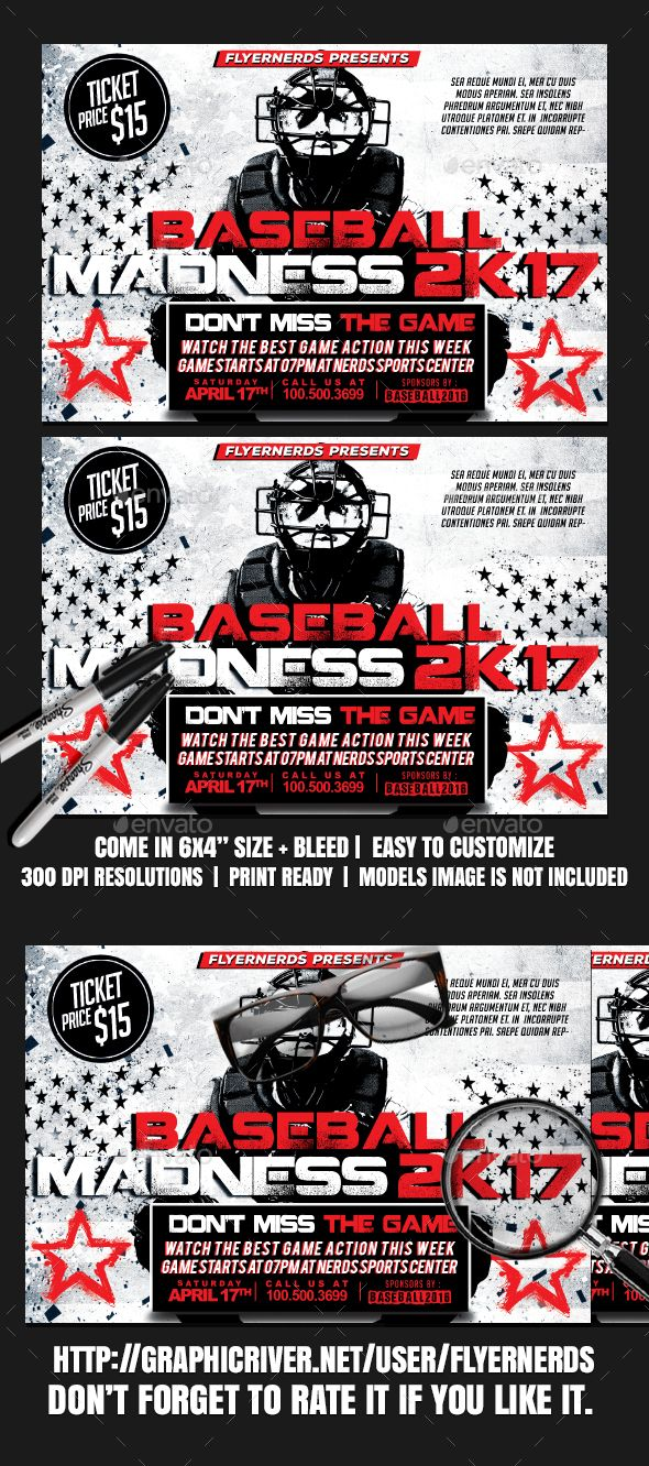 Baseball Madness 2K17 Sports Flyer | Pinterest