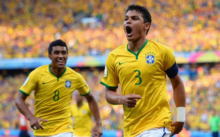 Lataa kuva Thiago Silva, jalkapallo, 4k, Brasilian jalkapallon pelaajat, maajoukkueen, Brasilia, Paulinho