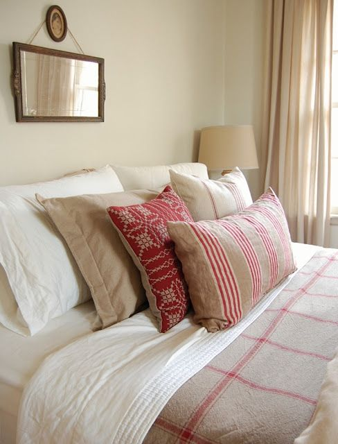 Country Style Bedroom With A Touch Of Red