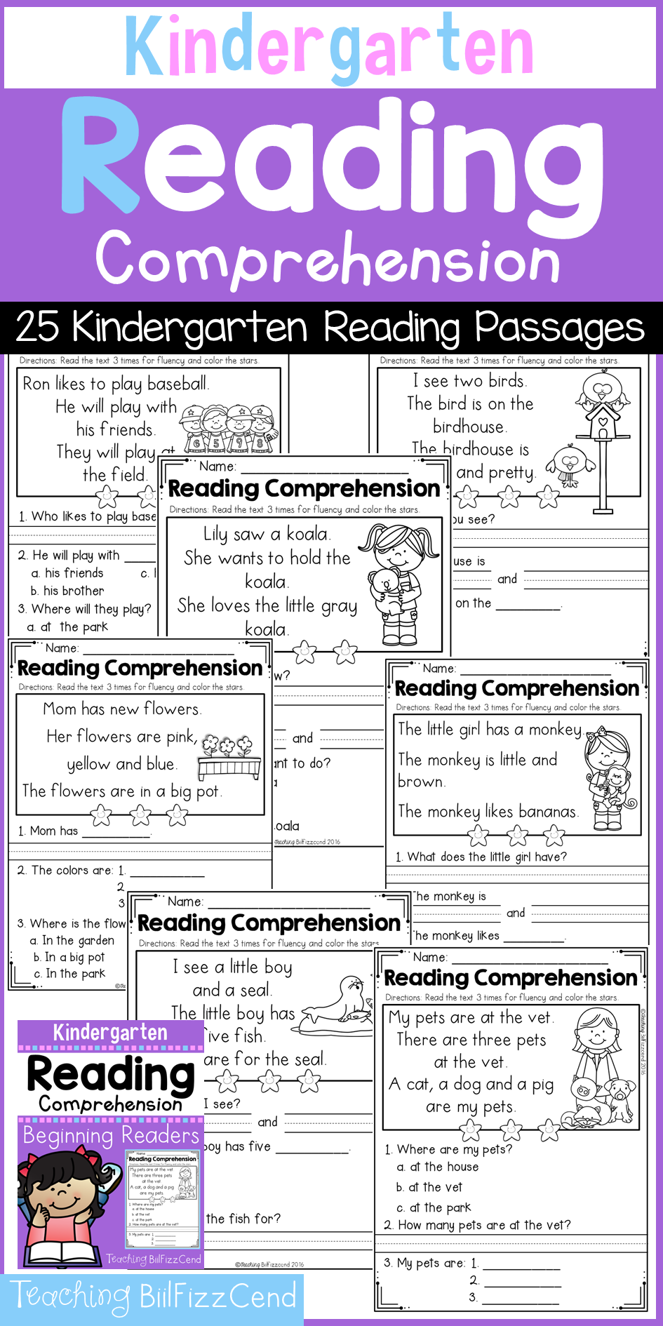 worksheet Kindergarten Listening Comprehension Worksheets kindergarten reading comprehension set 1 25 passages and fluency