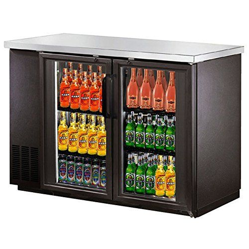 Saba Narrow Glass Door Back Bar Cooler With Stainless Steel Top And