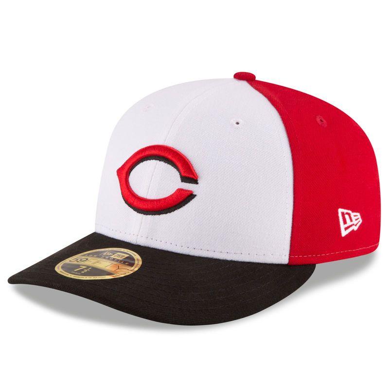cebc17c7445 ... hot cincinnati reds new era front n center low profile 59fifty fitted  hat white black c3bdf