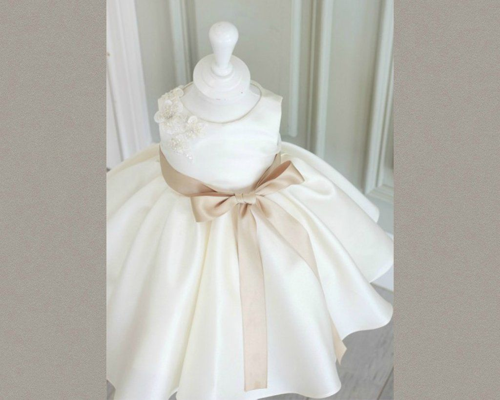 Off White Flower Girl Dress Off White Light Brown Belt Midi Knee