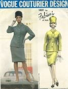 An original ca. 1965 Vogue Pattern 1481.  Fabiani - Suit:  Long,semi-fitted collarless jacket, with patch pockets, has shaped band around neckline and down center-front closing.  Three-quarter length kimono sleeves.  Narrow skirt.