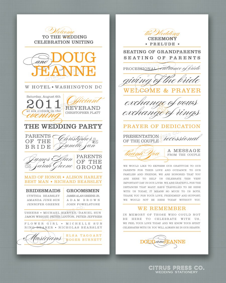 What to include in your wedding program? | Citrus Press Co ...