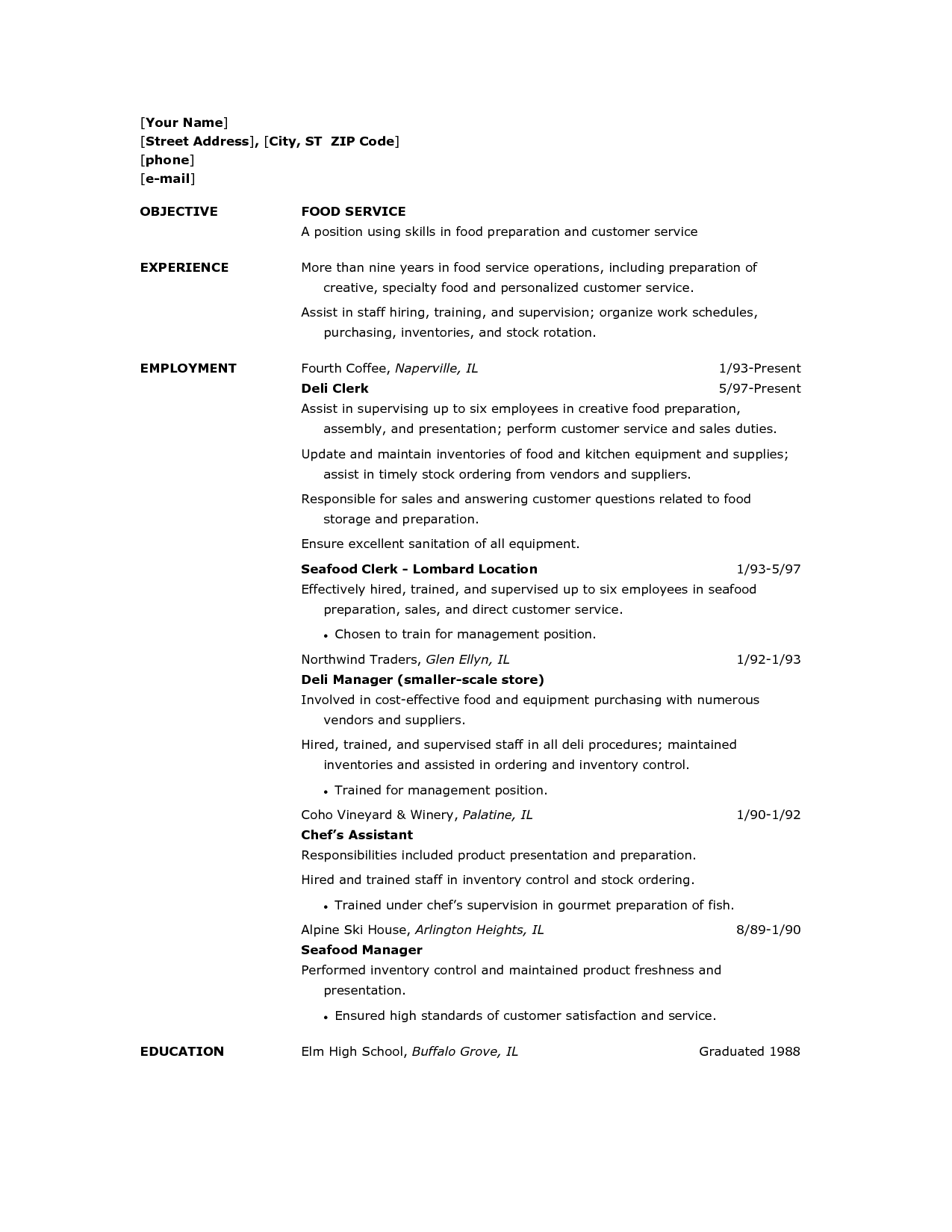 Resume Template For Food Server http//www.resumecareer