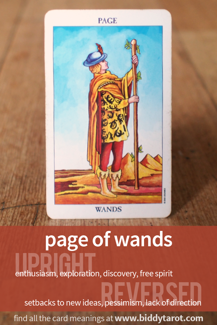 Page of Wands #tarotcardmeaning learn more at http://www.biddytarot.com/tarot-card-meanings/minor-arcana/suit-of-wands/page-of-wands/