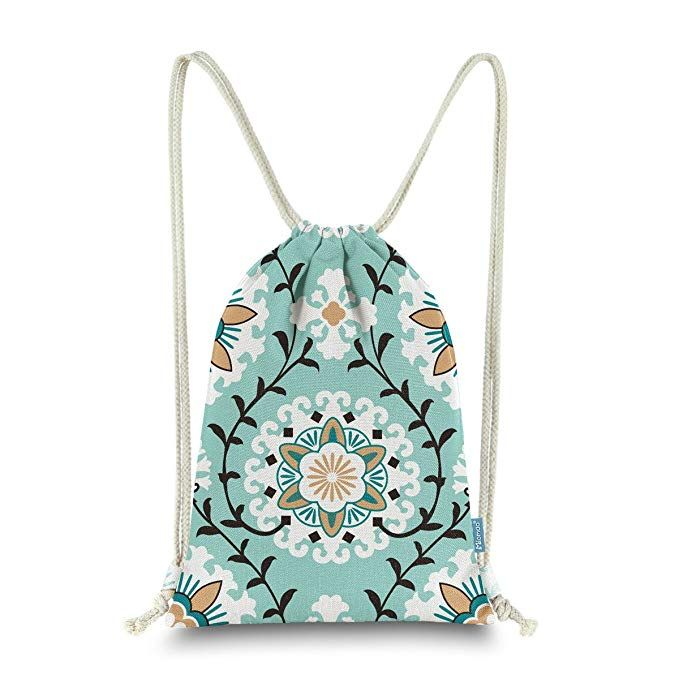 Miomao Drawstring Backpack Gym Sack Pack Dahlia Style Floral Sinch Sack  Canvas String Bag Beach Cinch Pack For Men   Women 13 X 18 Inches Fair Aqua  Review 1dffbcef43320