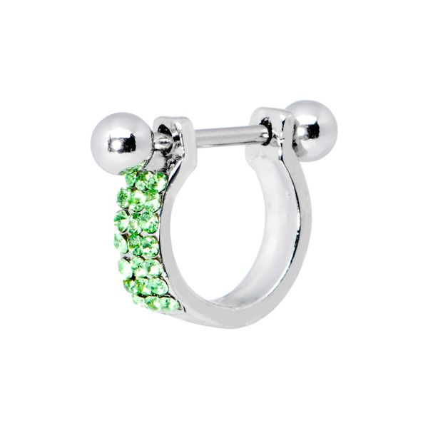 Peridot Green Gem Helix Cartilage Earring found on Polyvore