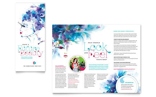 Tri Fold Brochure Templates For Word Cosmetology Brochure Template   Word U0026  Publisher  Free Brochure Design Templates Word