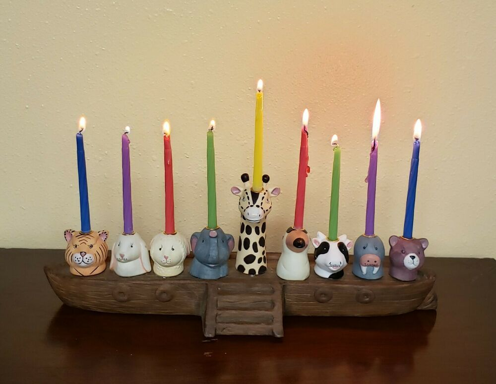 Noah S Ark Menorah Candle Holder Nine Animals Porcelain Roman 95981 Menorables Menorah Candles Menorah Candle Holders