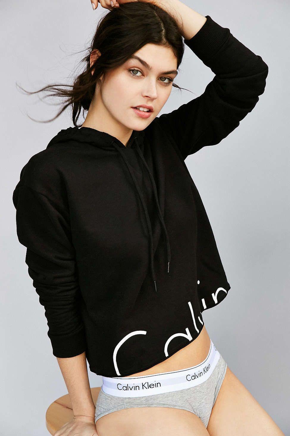 Calvin Klein Modern Cropped Hoodie Sweatshirt Calvin Klein Hoodie Calvin Klein Crop Top Cropped Hoodie