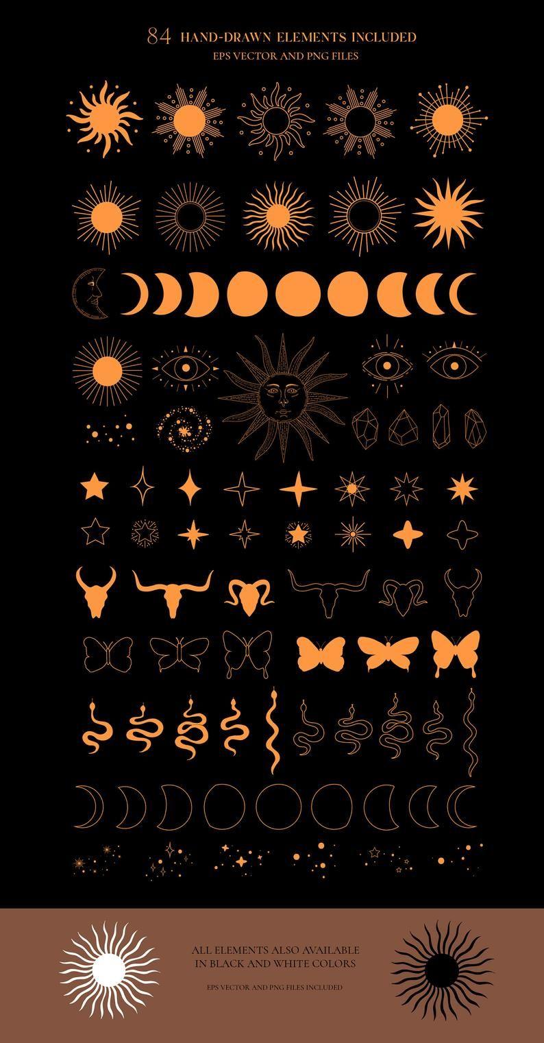 MYSTICAL celestial sun moon magic clipart, Cosmic esoteric