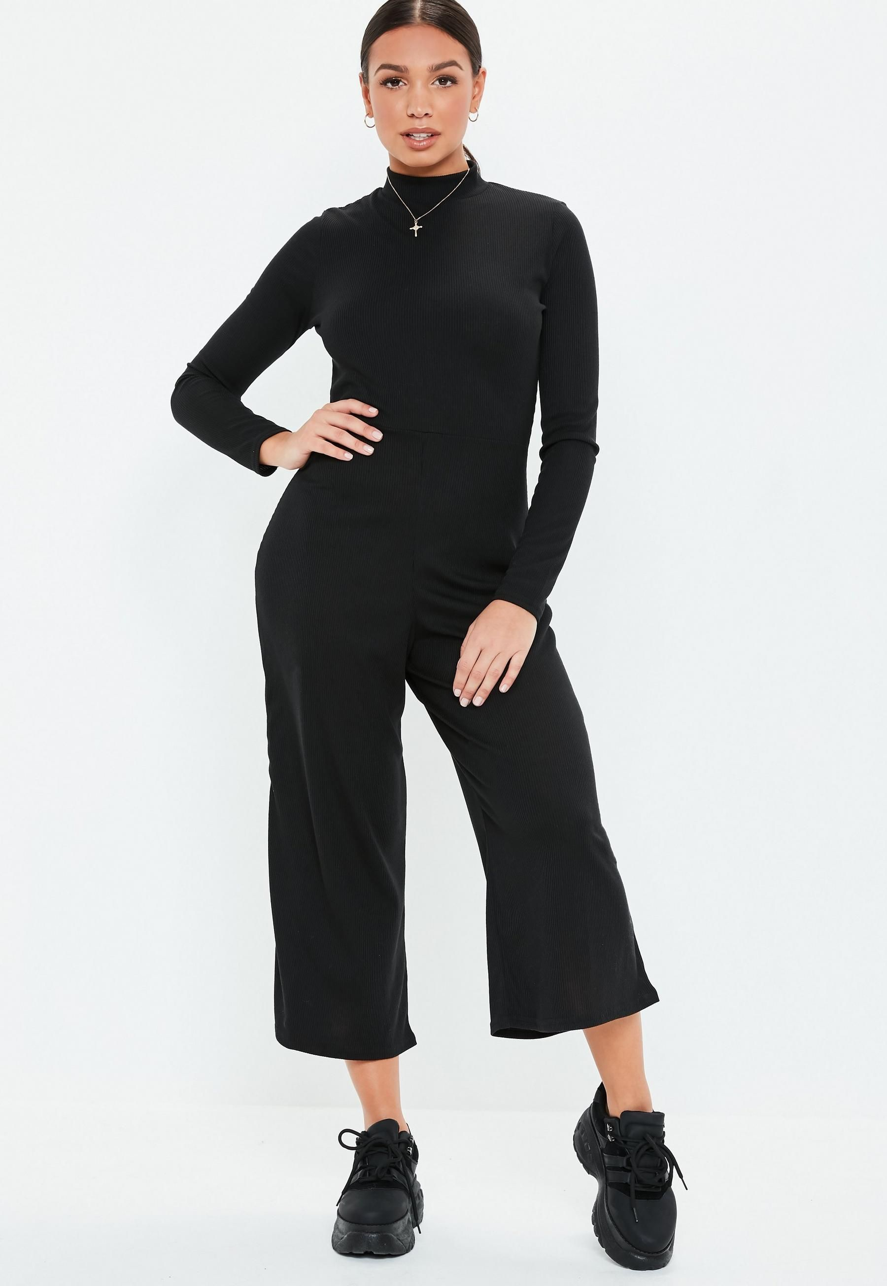 8056859dfe48 Black High Neck Ribbed Culotte Jumpsuit in 2018