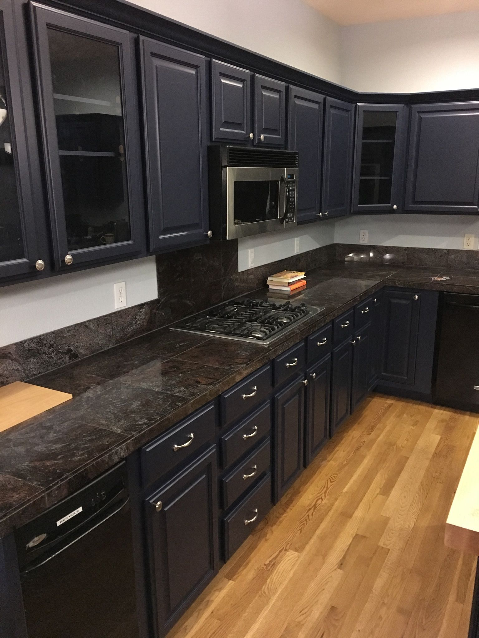 Dark Navy Resurfaced Cabinets Making A Statement In This Kitchen