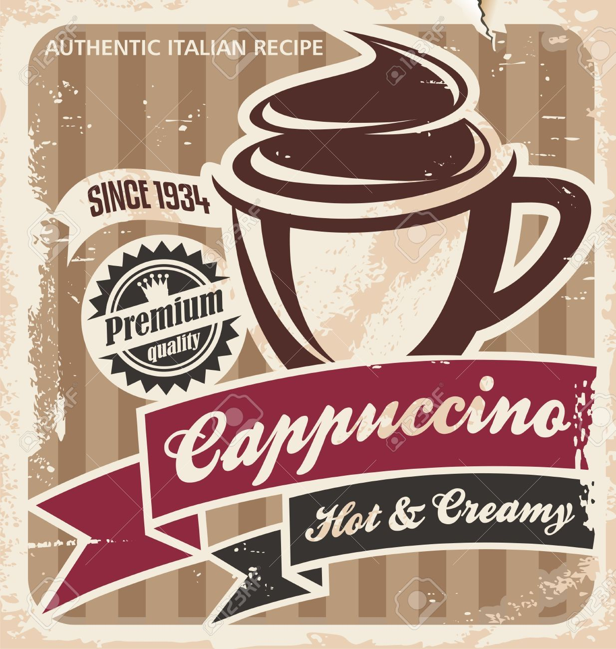 Vintage cappuccino poster Coffee cup on old paper texture