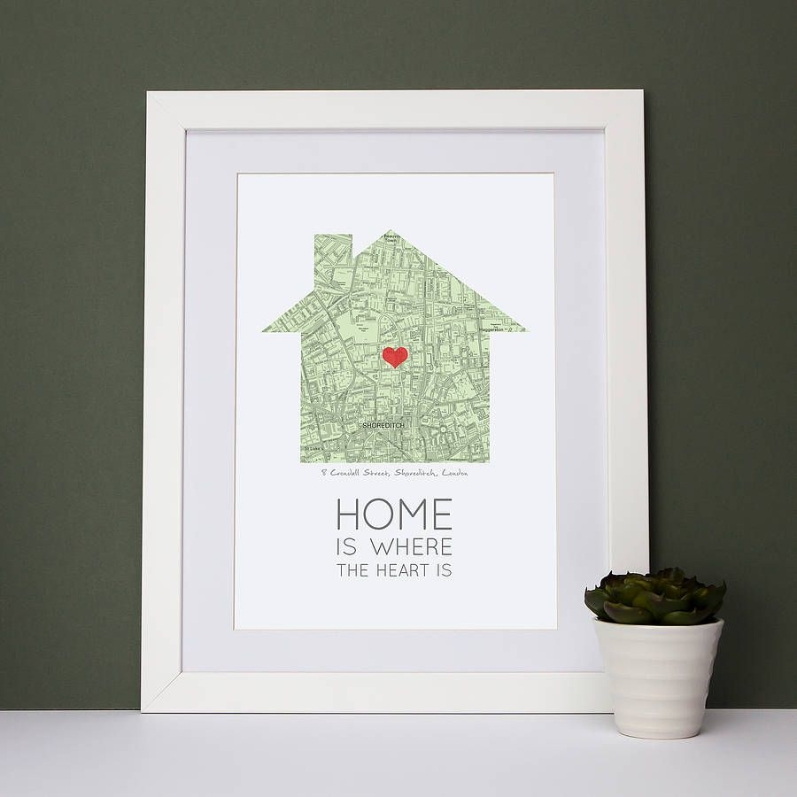 home is where the heart is map print by paperpaper