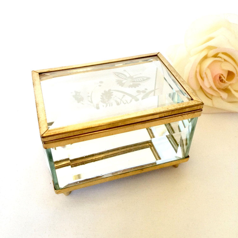 Mirror and Brass Beveled Glass Jewelry Box Trinket box Mirrored