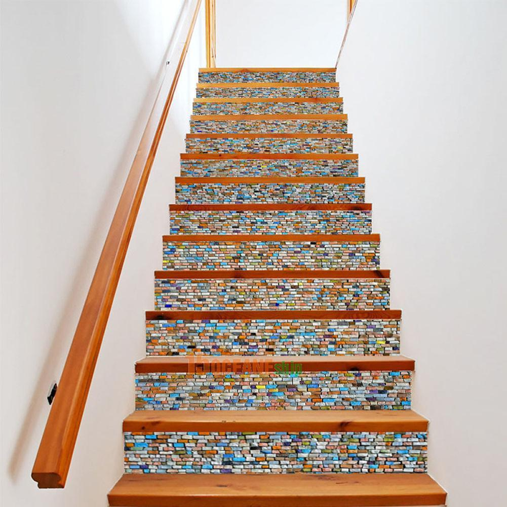 1443 6pcs 3d Stair Stickers Pvc Colorful Stone Pattern