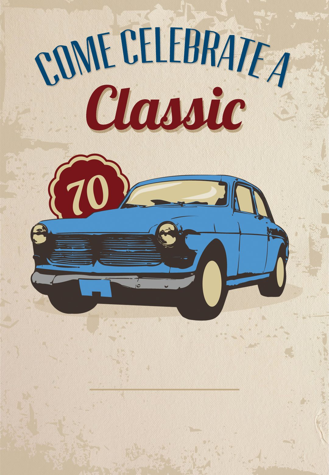 Car Classic 70th Birthday Free Printable Birthday Invitation