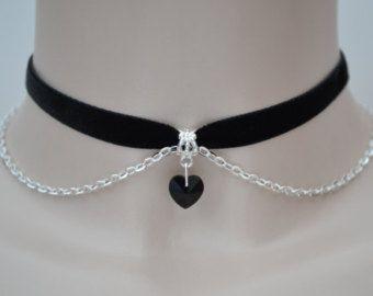 cf12d4638a00 CORAZÓN de cristal de cristal negro con cadena negra 10mm collar de  gargantilla de cinta de terciopelo - ao... o elegir otro color gargantilla  terciopelo