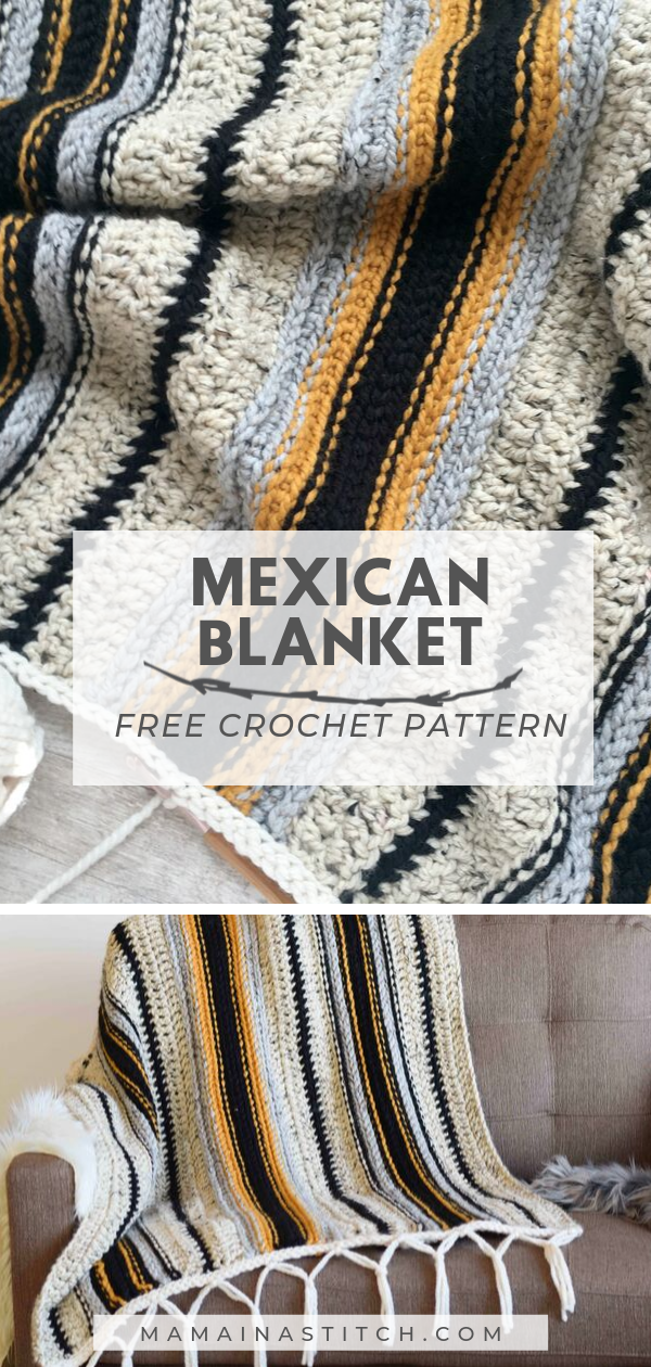Easy Mexican Blanket Free Crochet Pattern